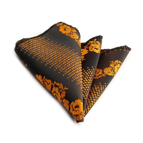 Handkerchief // Dark Brown + Orange Flowers
