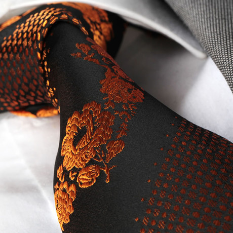 Tie // Dark Brown + Orange Flowers