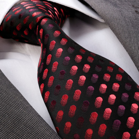 Tie // Black + Red Dots