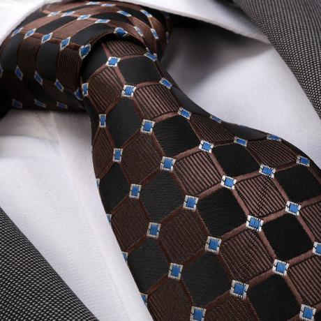 Tie // Black + Brown + Blue Squares