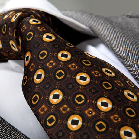 Silk Tie // Brown Champagne Circles