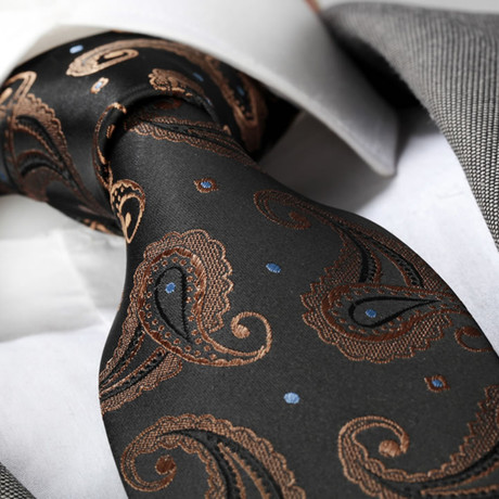 Tie // Black + Gold Paisley