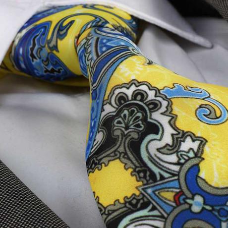 Walter Silk Tie // Yellow + Blue Paisley