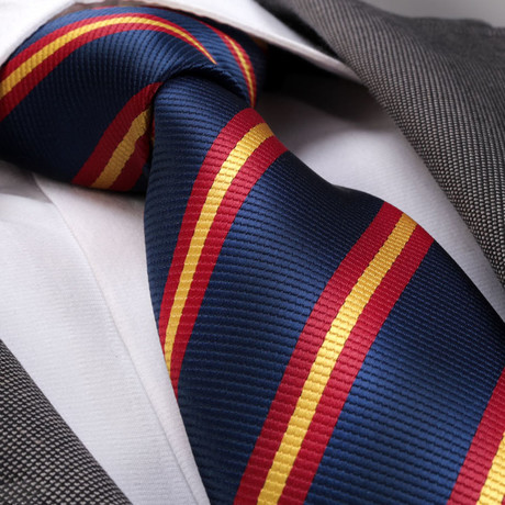 Amedeo Exclusive // Silk Tie // Blue + Red + Yellow Lines