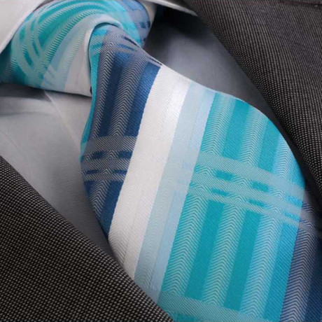 Alessandro Silk Tie // Turquoise Blue + White