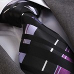 Vladimiri Silk Tie // Black + Purple + White
