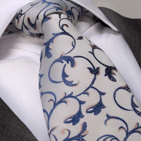 Riccardo Silk Tie // Gray + Blue Floral