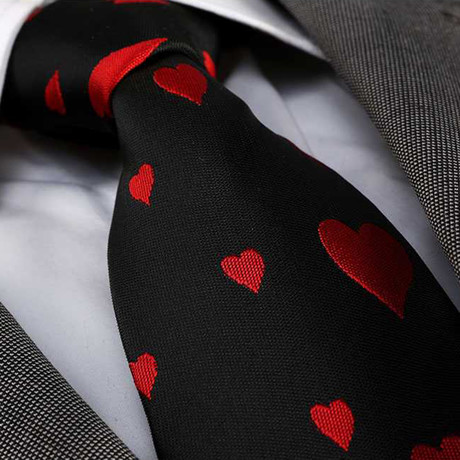 Lorenzo Tie // Solid Black + Red Hearts
