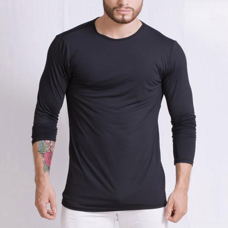 Round Neck Long Sleeve T-Shirt // Black (S)