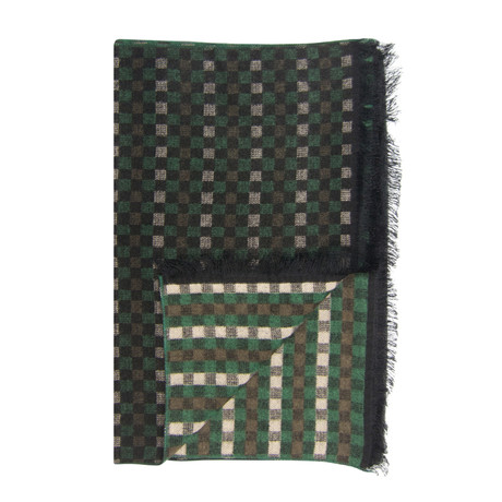 Gingham Scarf // Green + Beige
