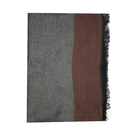 Trim Scarf // Solid Grey + Brown