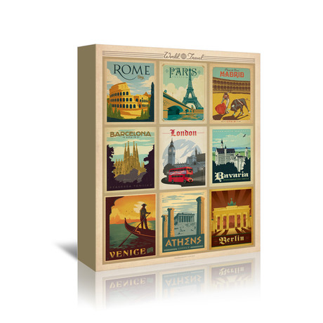 "World Travel Multi Print I (5""W x 7""H x 1""D)"