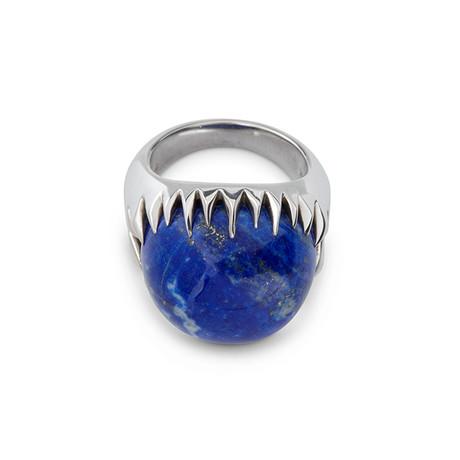 Silver Lapis Pinky Ring