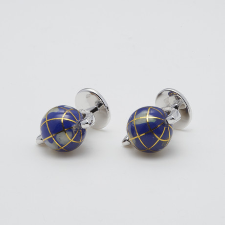 Spinning Gemstone Inlay Globe Formal Tuxedo Studs
