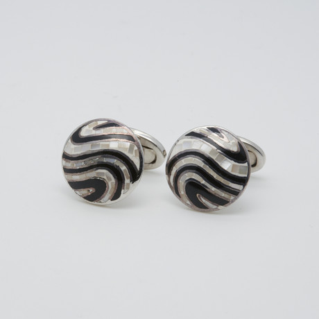 Round Multi-Tile Mother Of Pearl Cufflinks