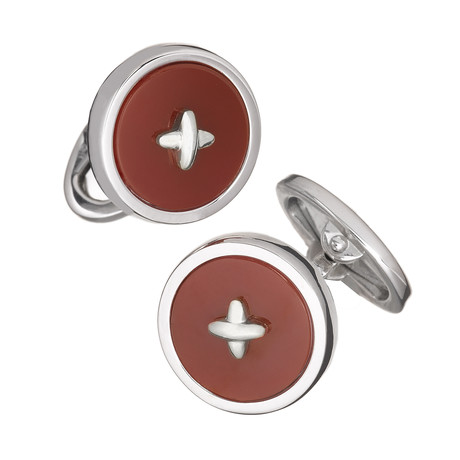 Classic Button Red Agate + Silver Thread Cufflinks