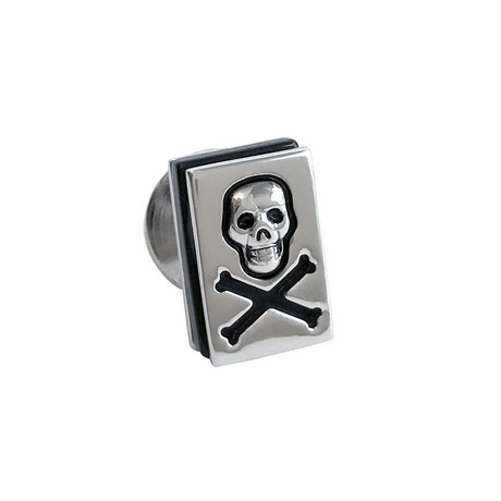Glass Skull + Crossbones Lapel Pin
