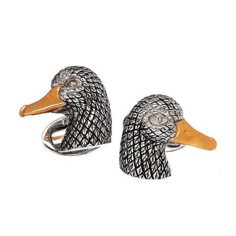 Antiqued Duck Head W/ 24K Yellow Gold Plated Beak Cufflinks