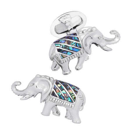 Indian Elephant W/ Abalone Inlay Cufflinks