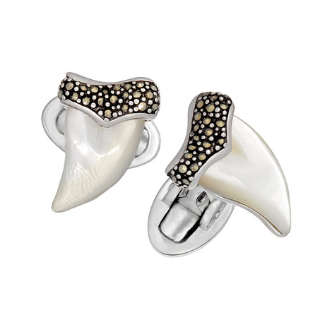 Marcasite + Mother Of Pearl Shark Tooth Cufflinks