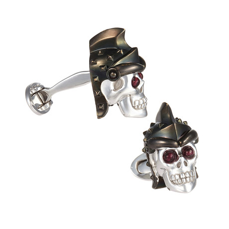 Hand Enameled Black Helmet Skull W/ Garnet Eyes Cufflinks
