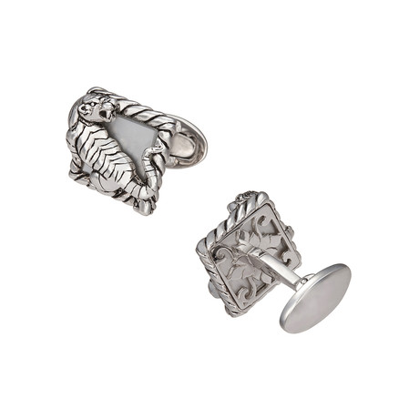 Tiger on Mother Of Pearl Square W/ Rope Frame + Ornate Back Cufflinks