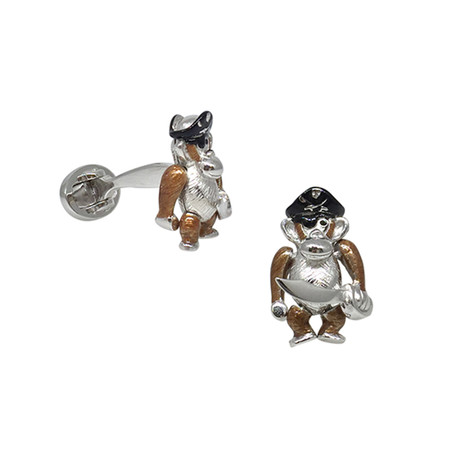 Enameled Moving Pirate Monkey Cufflinks