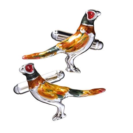 Hand Enameled Pheasant Cufflinks