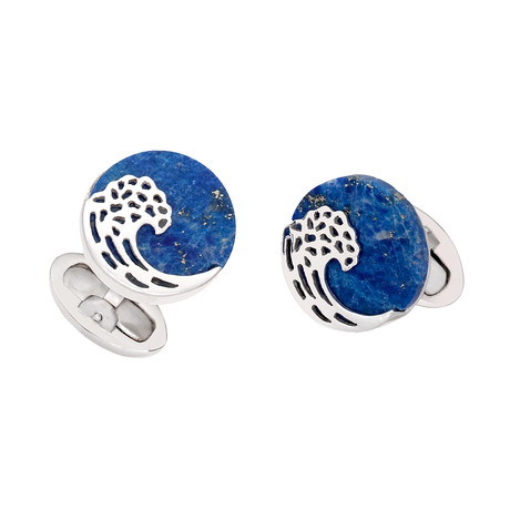 Laser Cut Wave On Lapis Cufflinks