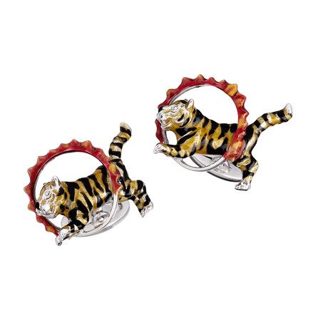 Enameled Tiger Jumping Through Hoop Cufflinks