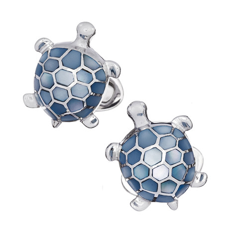 Blue Mother Of Pearl Inlay Turtle Cufflinks