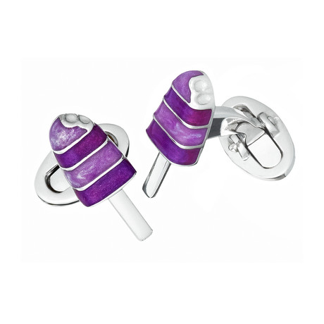 Hand Enameled Popsicle // Purple Cufflinks
