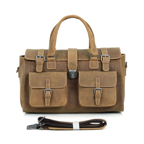 Faara Leather Duffle Bag // Brown