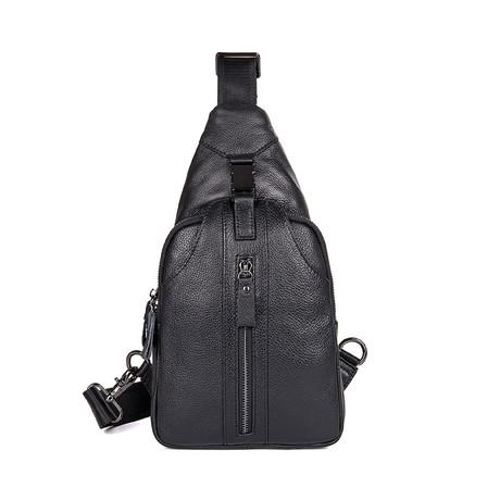 Vence Leather Chest Bag (Black)