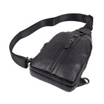 Vence Leather Chest Bag (Black)