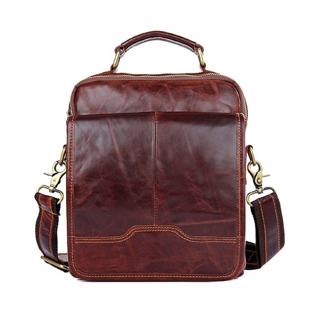 Zeifer Vintage Leather Shoulder Bag // Red Brown