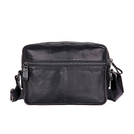 Kelleck Leather Messenger Bag (Black)
