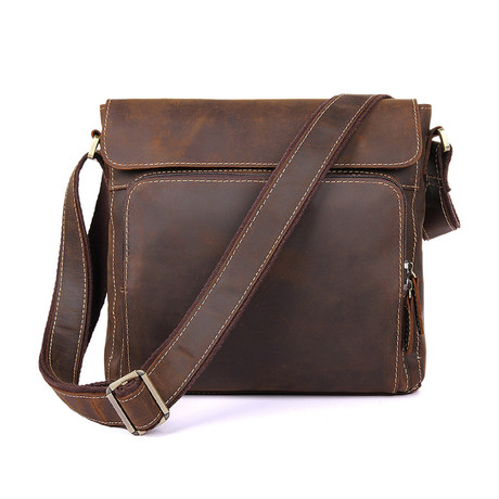 Mansk Leather Messenger Bag // Brown