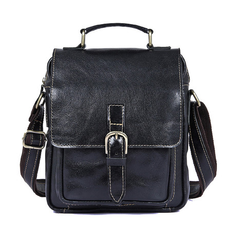 Asher Leather Shoulder Bag (Black)