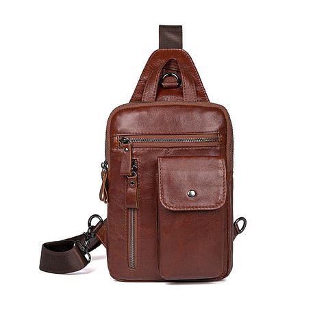 Kimbolt Leather Chest Bag // Brown