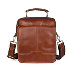 Burak Leather Messenger Bag // Brown