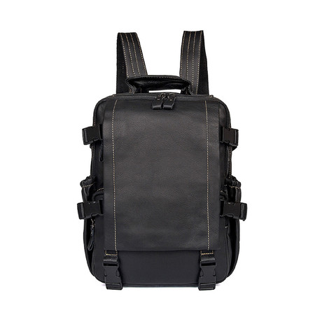 Trekk Leather Backpack // Black