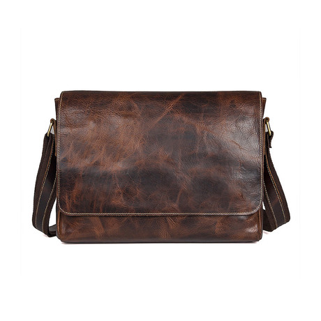 Octavius Leather Messenger Bag // Brown