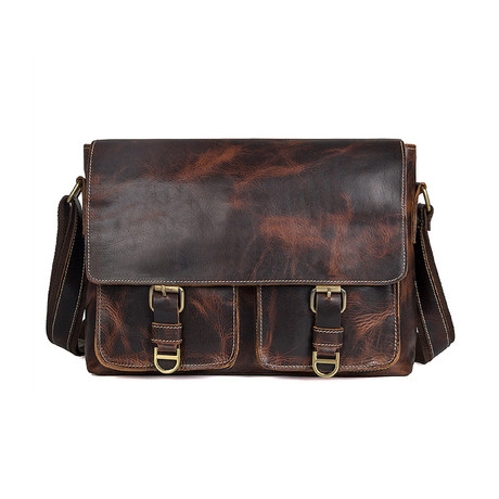 Cambria Leather Messenger Bag // Brown