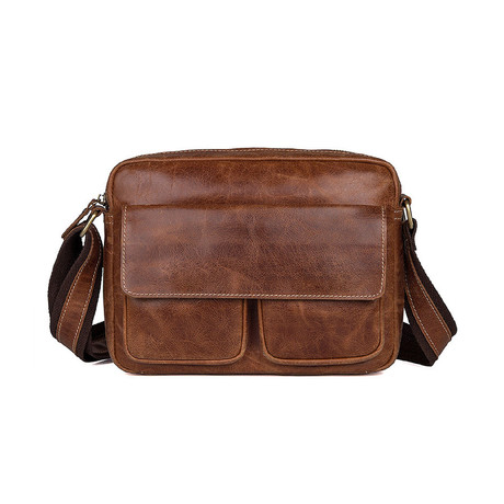 Griffin Leather Messenger Bag (Chocolate)
