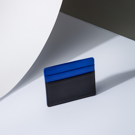 Leather Credit Card Holder W/ Money Clip // Indigo