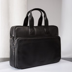 Napa Leather Briefcase // Black