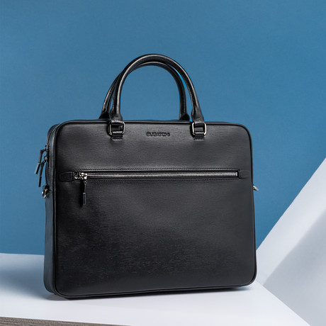 Wood Grained Semi Embossed Leather Briefcase // Black