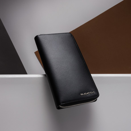 Saffiano Leather Long Wallet // Black