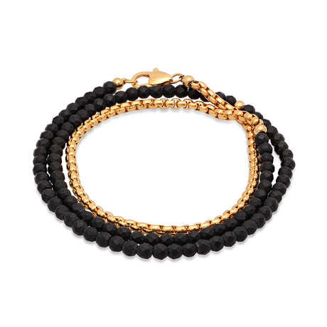 Bead + 18k Gold Plated Rounded Box Chain Wrap Bracelet